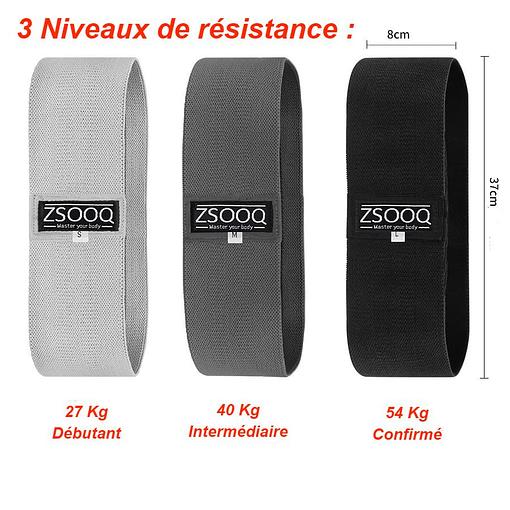 Elastique Fitness ME3624 - 3 niveaux de résistance 27 à 54 kg